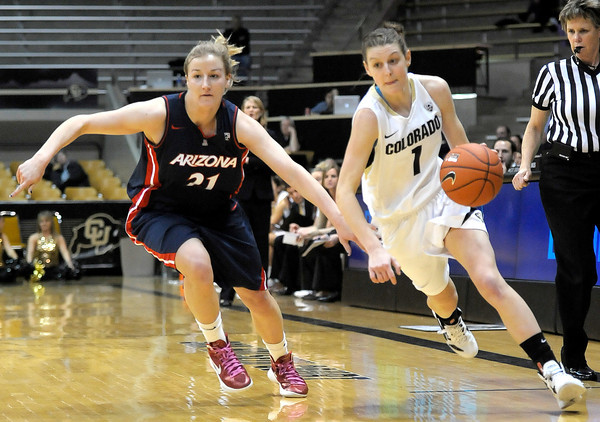 Colorado's Lexy Kresl (right) and Arizona's Erin Butler (left) race to the basket during their basketball game at the University of Colorado in Boulder, Colorado February 9, 2012. CAMERA/MARK LEFFINGWELL