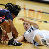 "Jasmine Sborov, right, tries to get a loose ball from Reiko Thomas of Arizona during the second half of the February 9, 2012 game in Boulder.<br /> For more photos of the game, go to  <a href=""http://www.dailycamera.com"">http://www.dailycamera.com</a>.<br /> February 9, 2012 / Cliff Grassmick"