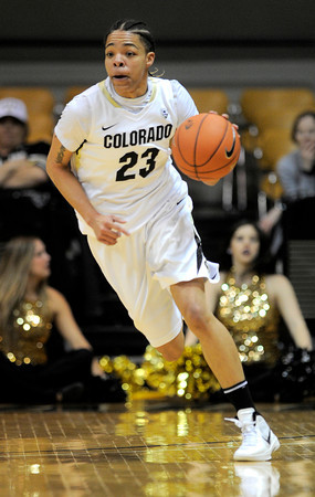Colorado's Chucky Jeffery takes the ball down the court against Arizona during their basketball game at the University of Colorado in Boulder, Colorado February 9, 2012. CAMERA/MARK LEFFINGWELL