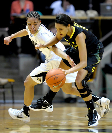 Colorado's Chucky Jeffery (left) tries to steal the ball from Oregon's Lexi Petersen (right) during their basketball game at the University of Colorado in Boulder, Colorado March 1, 2012. CAMERA/MARK LEFFINGWELL