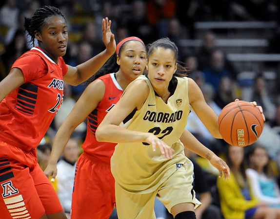 "Arielle Roberson of Colorado, drives on Erica Barnes of Arizona during the first half of the January 20th, 2013 game in Boulder.<br /> For more photos of the game, go to  <a href=""http://www.dailycamera.com"">http://www.dailycamera.com</a>.<br /> Cliff Grassmick / January 20, 2013"