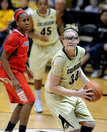 "Jen Reese of CU looks to shoot against Arizona during the second half of the January 20th, 2013 game in Boulder.<br /> For more photos of the game, go to  <a href=""http://www.dailycamera.com"">http://www.dailycamera.com</a>.<br /> Cliff Grassmick / January 20, 2013"