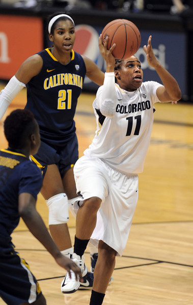 "Brittany Wilson of CU goes to the basket against California.<br /> For more photos of the game, go to  <a href=""http://www.dailycamera.com"">http://www.dailycamera.com</a>.<br /> Cliff Grassmick / January 6, 2013"