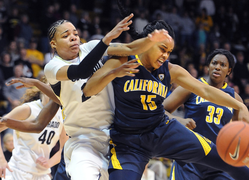 "Chucky Jeffery, left, of CU, struggles with Brittany Boyd of Cal.<br /> For more photos of the game, go to  <a href=""http://www.dailycamera.com"">http://www.dailycamera.com</a>.<br /> Cliff Grassmick / January 6, 2013"