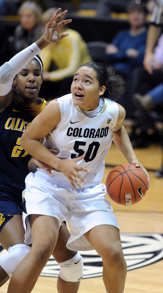 "Jamee Swan of CU tries to score on Reshanda Gray of Cal.<br /> For more photos of the game, go to  <a href=""http://www.dailycamera.com"">http://www.dailycamera.com</a>.<br /> Cliff Grassmick / January 6, 2013"