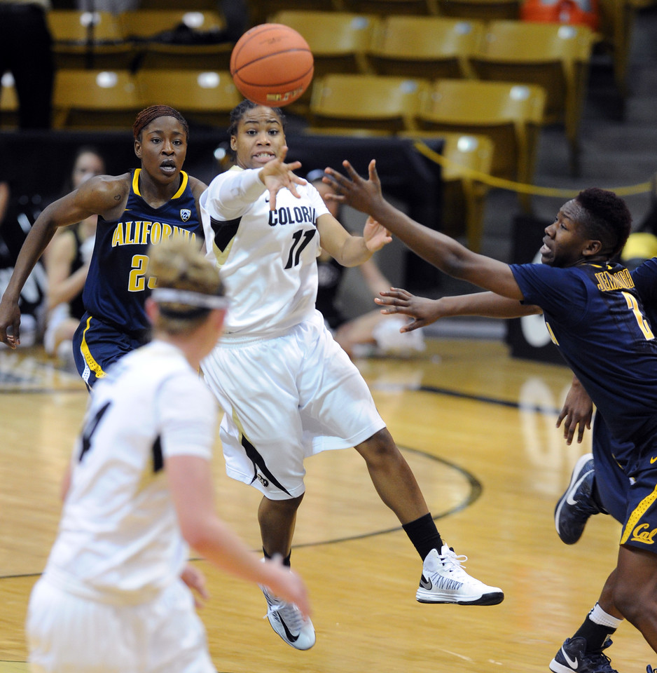 "Brittany Wilson of CU gets a pass to Jen Reese against Cal on Sunday.<br /> For more photos of the game, go to  <a href=""http://www.dailycamera.com"">http://www.dailycamera.com</a>.<br /> Cliff Grassmick / January 6, 2013"