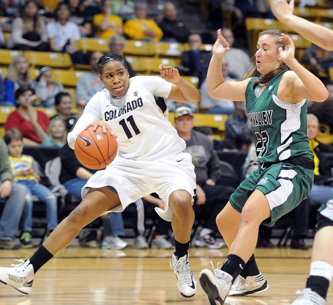 Brittany Wilson of CU drives on Tina Doughty of Utah Valley during the first half of the December 22, 2012 game in Boulder.<br /> Cliff Grassmick / December 22, 2012