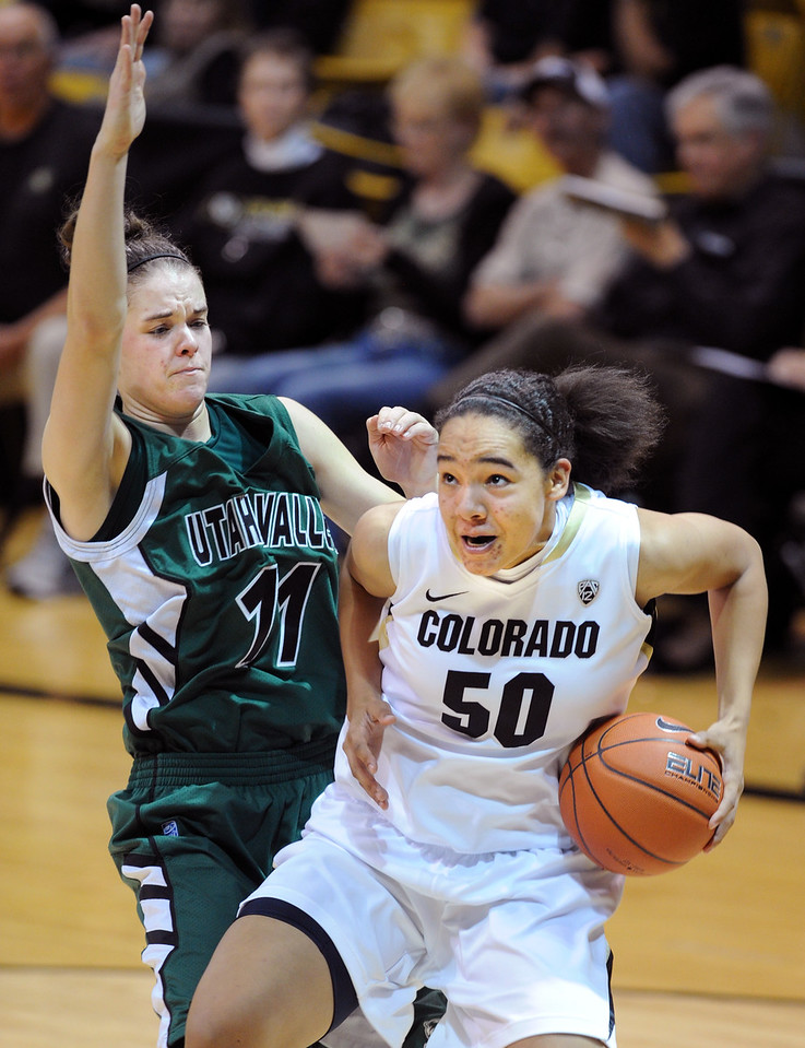 Jamee Swan of CU, drives on Sammie Jensen of Utah Valley during the second half of the December 22, 2012 game in Boulder.<br /> Cliff Grassmick / December 22, 2012