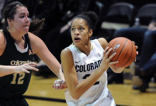 "Arielle Roberson of CU drives on Sam Martin of CSU.<br /> For more photos from CU CSU basketball, go to  <a href=""http://www.dailycamera.com"">http://www.dailycamera.com</a>.<br /> Cliff Grassmick / December 5, 2012"