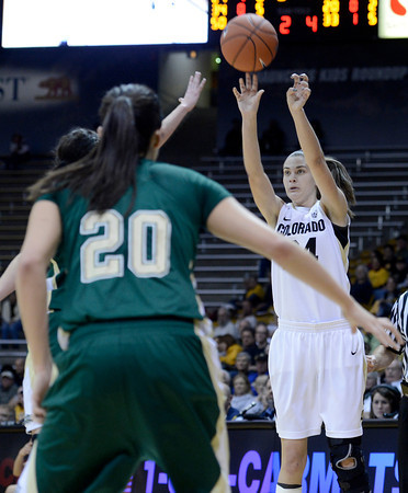 "University of Colorado's Lauren Huggins takes a shot in front of Kara Spotton, No. 20, during a game against Colorado State University on Wednesday, Dec. 5, at the Coors Event Center on the CU campus in Boulder. For more photos of the game go to  <a href=""http://www.dailycamera.com"">http://www.dailycamera.com</a><br /> Jeremy Papasso/ Camera"