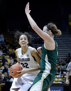 University of Colorado's Arielle Roberson drives to the hoop past Hayley Thompson during a game against Colorado State University on Wednesday, Dec. 5, at the Coors Event Center on the CU campus in Boulder. For more photos of the game go to www.dailycamera.com Jeremy Papasso/ Camera
