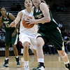 "Colorado State University's Caitlin Duffy drives past University of Colorado's Jasmine Sborov during a game on Wednesday, Dec. 5, at the Coors Event Center on the CU campus in Boulder. For more photos of the game go to  <a href=""http://www.dailycamera.com"">http://www.dailycamera.com</a><br /> Jeremy Papasso/ Camera"