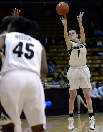 "University of Colorado's Lexy Kresl shoots a three-pointer during a game against Colorado State University on Wednesday, Dec. 5, at the Coors Event Center on the CU campus in Boulder. For more photos of the game go to  <a href=""http://www.dailycamera.com"">http://www.dailycamera.com</a><br /> Jeremy Papasso/ Camera"