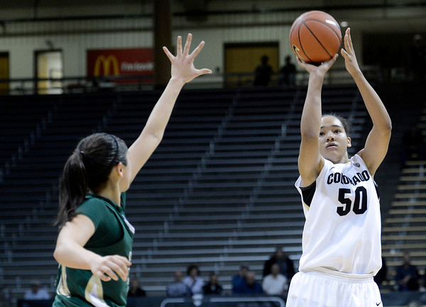 "University of Colorado's Jamee Swan takes a shot during a game against Colorado State University on Wednesday, Dec. 5, at the Coors Event Center on the CU campus in Boulder. For more photos of the game go to  <a href=""http://www.dailycamera.com"">http://www.dailycamera.com</a><br /> Jeremy Papasso/ Camera"