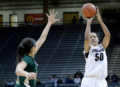 University of Colorado's Jamee Swan takes a shot during a game against Colorado State University on Wednesday, Dec. 5, at the Coors Event Center on the CU campus in Boulder. For more photos of the game go to www.dailycamera.com Jeremy Papasso/ Camera