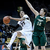 "University of Colorado's Chucky Jeffery drives to the hoop past Meghan Heimstra during a game against Colorado State University on Wednesday, Dec. 5, at the Coors Event Center on the CU campus in Boulder. For more photos of the game go to  <a href=""http://www.dailycamera.com"">http://www.dailycamera.com</a><br /> Jeremy Papasso/ Camera"