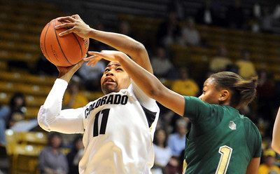 Brittany Wilson of CU drives on LaDEYAH Forte of CSU. For more photos from CU CSU basketball, go to www.dailycamera.com. Cliff Grassmick / December 5, 2012