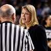 "University of Colorado head coach Linda Lappe has words with the referee during a games against the University of Denver on Tuesday, Dec. 11, at the Magnus Arena on the DU campus in Denver. For more photos of the game go to  <a href=""http://www.dailycamera.com"">http://www.dailycamera.com</a><br /> Jeremy Papasso/ Camera"