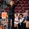 """University of Denver head coach Kerry Cremeans yells two her team during a games against the University of Colorado on Tuesday, Dec. 11, at the Magnus Arena on the DU campus in Denver. For more photos of the game go to  <a href=""""http://www.dailycamera.com"""">http://www.dailycamera.com</a><br /> Jeremy Papasso/ Camera"""