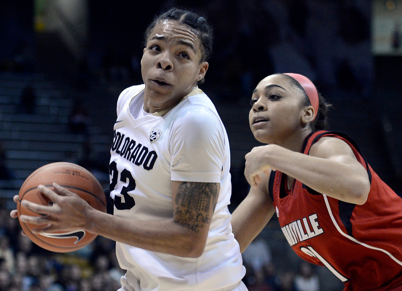 "University of Colorado's Chucky Jeffery drives to the hoop past Bria Smith on Friday, Dec. 14, during a game against Louisville at the Coors Event Center on the CU campus in Boulder. For more photos of the game go to  <a href=""http://www.dailycamera.com"">http://www.dailycamera.com</a><br /> Jeremy Papasso/ Camera"
