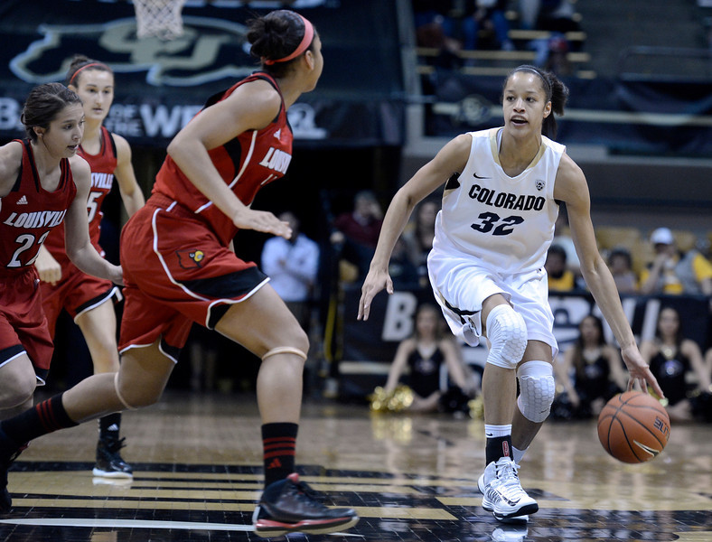 "University of Colorado's Arielle Roberson dribbles the ball on Friday, Dec. 14, during a game against Louisville at the Coors Event Center on the CU campus in Boulder. For more photos of the game go to  <a href=""http://www.dailycamera.com"">http://www.dailycamera.com</a><br /> Jeremy Papasso/ Camera"