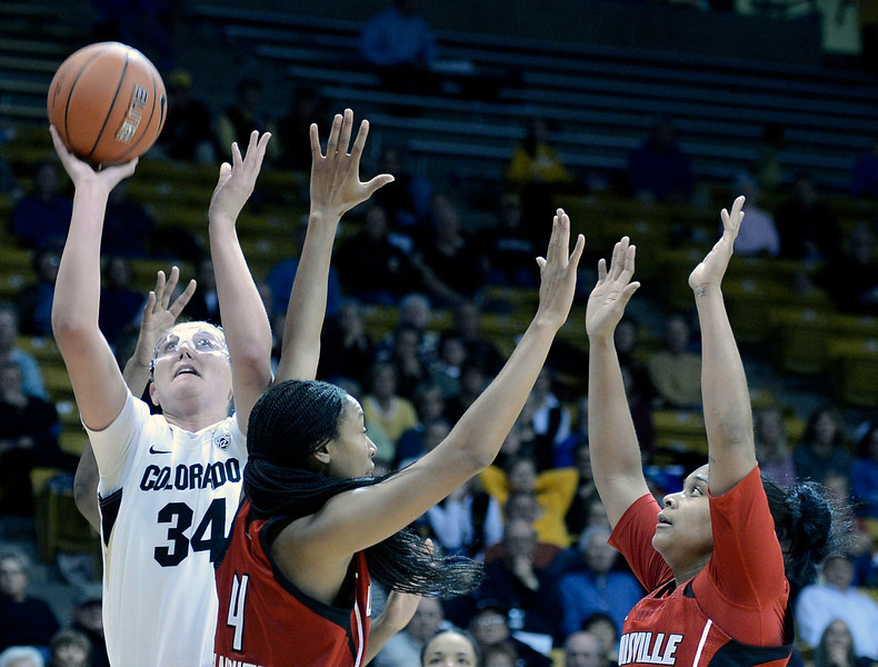 "University of Colorado's Jen Reese takes a shot over a swarm of defenders on Friday, Dec. 14, during a game against Louisville at the Coors Event Center on the CU campus in Boulder. For more photos of the game go to  <a href=""http://www.dailycamera.com"">http://www.dailycamera.com</a><br /> Jeremy Papasso/ Camera"