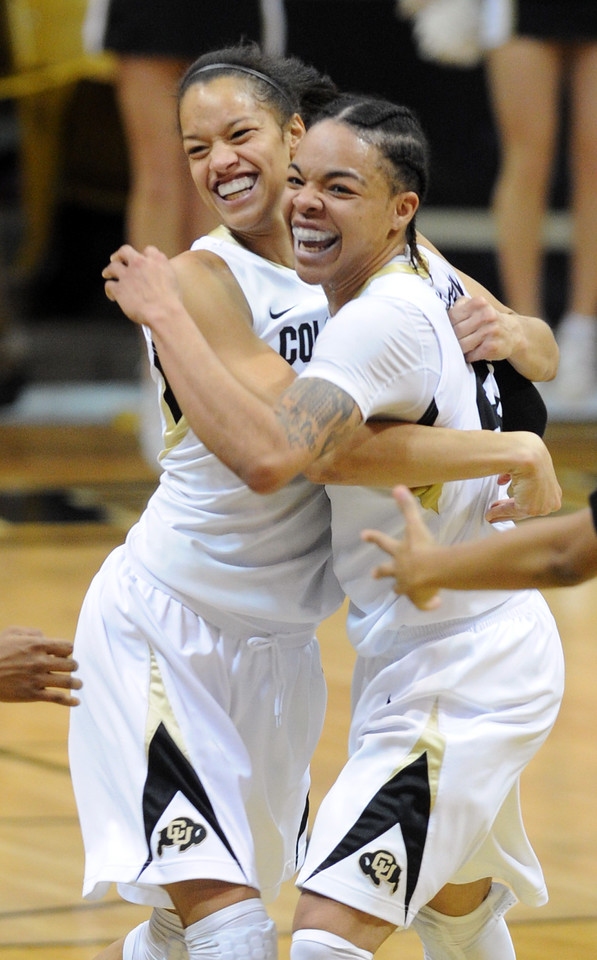 Chucky Jeffery, right,  of CU, is hugged by Arielle Roberson as the Buffs upset  #8  Louisville. <br /> Cliff Grassmick / December 14, 2012