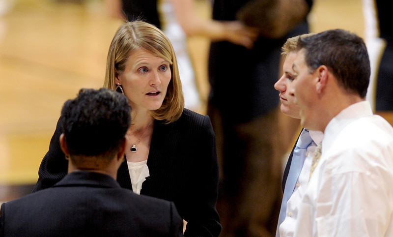 CU Coach Linda Lappe during a time out in the Louisville game.<br /> Cliff Grassmick / December 14, 2012