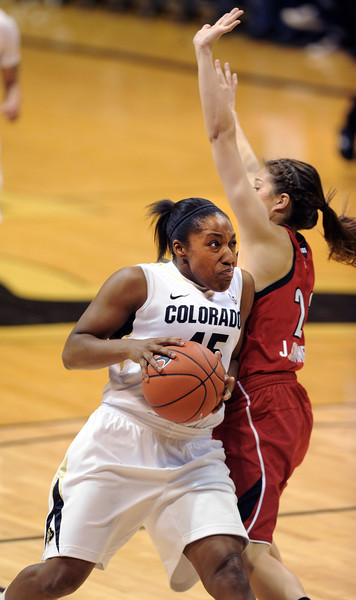 Kyleesha Weston of CU drives on Jude Schimmel of Louisville.<br /> Cliff Grassmick / December 14, 2012