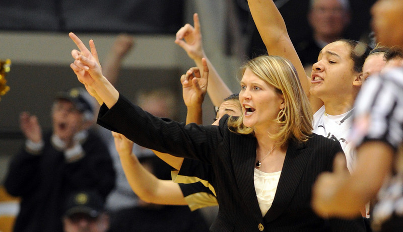 CU coach Linda Lappe coaches in the Louisville game.<br /> Cliff Grassmick / December 14, 2012
