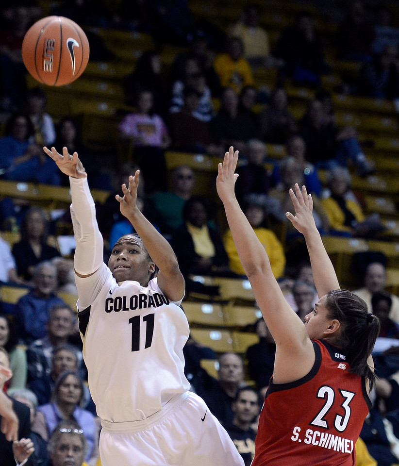 "University of Colorado's Brittany Wilson takes a shot over Shoni Schimmel on Friday, Dec. 14, during a game against Louisville at the Coors Event Center on the CU campus in Boulder. For more photos of the game go to  <a href=""http://www.dailycamera.com"">http://www.dailycamera.com</a><br /> Jeremy Papasso/ Camera"