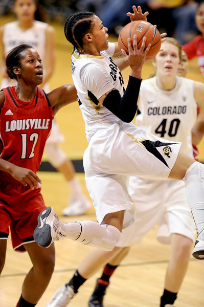 Chucky Jeffery of CU gets past Shawnta' Dyer of Louisville.<br /> Cliff Grassmick / December 14, 2012