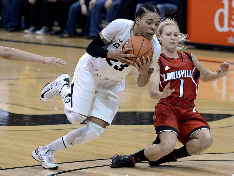 "University of Colorado's Chucky Jeffery goes for a loose ball against Shelby Harper on Friday, Dec. 14, during a game against Louisville at the Coors Event Center on the CU campus in Boulder. For more photos of the game go to  <a href=""http://www.dailycamera.com"">http://www.dailycamera.com</a><br /> Jeremy Papasso/ Camera"