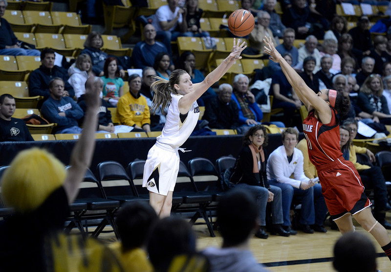 "University of Colorado's Lexy Kresl shoots a three-pointer over Bria Smith on Friday, Dec. 14, during a game against Louisville at the Coors Event Center on the CU campus in Boulder. For more photos of the game go to  <a href=""http://www.dailycamera.com"">http://www.dailycamera.com</a><br /> Jeremy Papasso/ Camera"