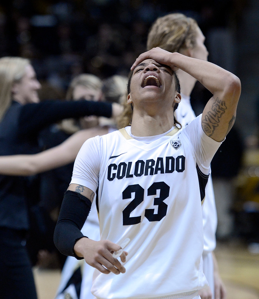 "University of Colorado's Chucky Jeffery shows her emotions after defeating Louisville 70-66 on Friday, Dec. 14, at the Coors Event Center on the CU campus in Boulder. For more photos of the game go to  <a href=""http://www.dailycamera.com"">http://www.dailycamera.com</a><br /> Jeremy Papasso/ Camera"