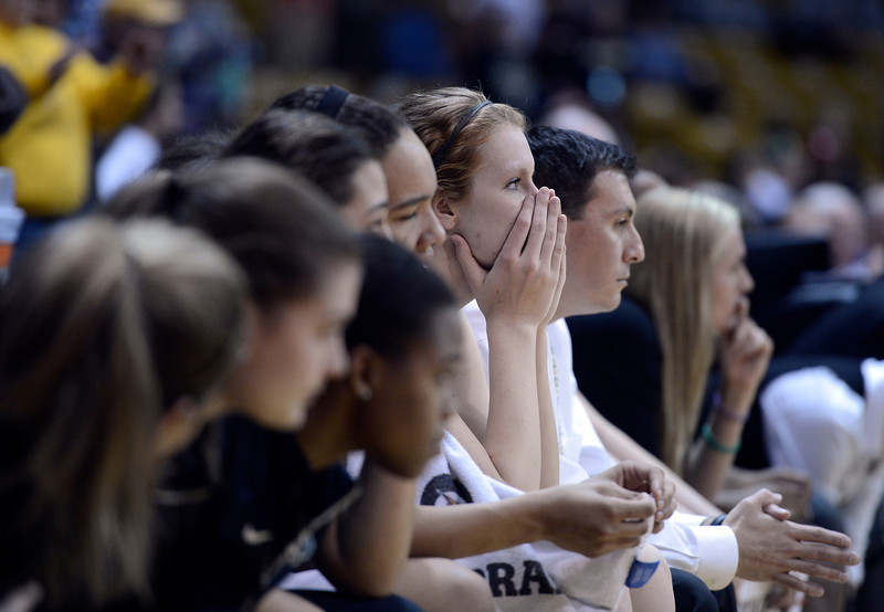 "University of Colorado's Rachel Hargis holds her hand over her face as she watches to see if CU can hold their lead on Friday, Dec. 14, during a game against Louisville at the Coors Event Center on the CU campus in Boulder. For more photos of the game go to  <a href=""http://www.dailycamera.com"">http://www.dailycamera.com</a><br /> Jeremy Papasso/ Camera"