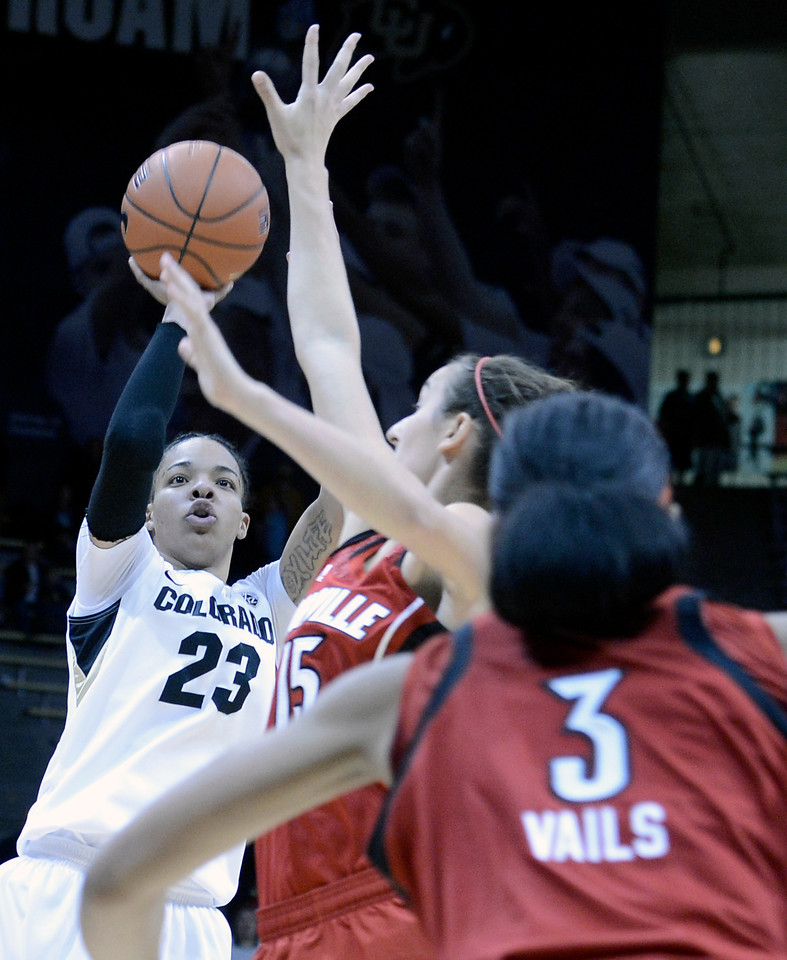 "University of Colorado's Chucky Jeffery takes a shot over Meghan Dienes, No. 15, and Sheronne Vails on Friday, Dec. 14, during a game against Louisville at the Coors Event Center on the CU campus in Boulder. For more photos of the game go to  <a href=""http://www.dailycamera.com"">http://www.dailycamera.com</a><br /> Jeremy Papasso/ Camera"