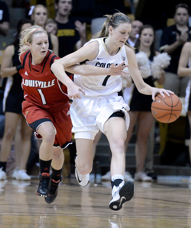 "University of Colorado's Lexy Kresl dribbles past Shelby Harper on Friday, Dec. 14, during a game against Louisville at the Coors Event Center on the CU campus in Boulder. For more photos of the game go to  <a href=""http://www.dailycamera.com"">http://www.dailycamera.com</a><br /> Jeremy Papasso/ Camera"