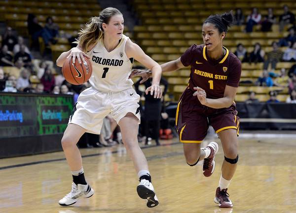 "University of Colorado's Lexy Kresl dribbles past Arnecia Hawkins during a game against Arizona State University on Friday, Jan. 18, at the Coors Event Center on the CU campus in Boulder. For more photos of the game go to  <a href=""http://www.dailycamera.com"">http://www.dailycamera.com</a><br /> Jeremy Papasso/ Camera"
