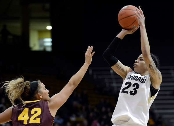 "University of Colorado's Chucky Jeffery shoots a three-pointer in front of Haley Videckis during a game against Arizona State University on Friday, Jan. 18, at the Coors Event Center on the CU campus in Boulder. For more photos of the game go to  <a href=""http://www.dailycamera.com"">http://www.dailycamera.com</a><br /> Jeremy Papasso/ Camera"