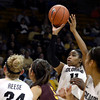 "University of Colorado's Brittany Wilson takes a shot during a game against Arizona State University on Friday, Jan. 18, at the Coors Event Center on the CU campus in Boulder. For more photos of the game go to  <a href=""http://www.dailycamera.com"">http://www.dailycamera.com</a><br /> Jeremy Papasso/ Camera"