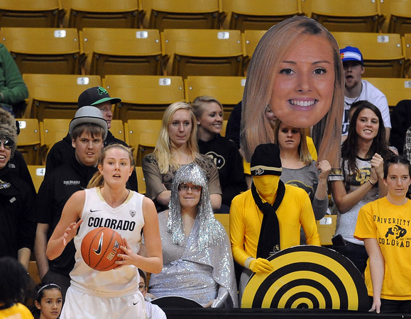 """Julie Seabrook of CU has a look-a-like in the crowd during the second half of the January 12, 2012 game in Boulder.<br /> For more photos of the game, go to  <a href=""""http://www.dailycamera.com"""">http://www.dailycamera.com</a>.<br /> January 12, 2012 / Cliff Grassmick"""