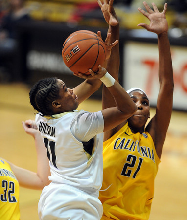 "Brittany Wilson of CU shoots over Reshanda Gray  of Cal<br /> during the second half of the January 12, 2012 game in Boulder.<br /> For more photos of the game, go to  <a href=""http://www.dailycamera.com"">http://www.dailycamera.com</a>.<br /> January 12, 2012 / Cliff Grassmick"