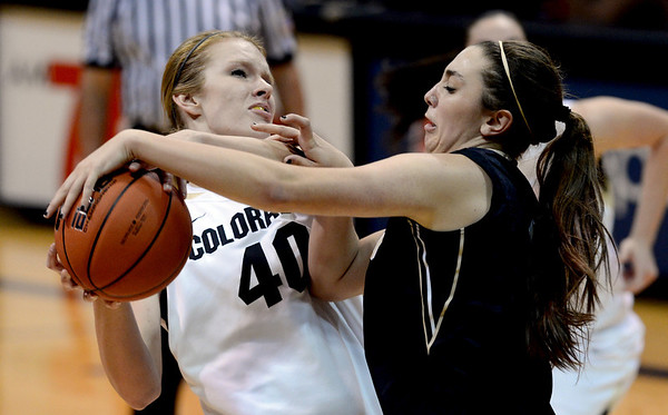 "Rachel Hargis of CU gets the ball knocked away by Christina Salvatore of Idaho during the second half of the November 11,  2012 game in Boulder.<br /> For more photos of the CU women, go to  <a href=""http://www.dailycamera.com"">http://www.dailycamera.com</a><br /> Cliff Grassmick / November 11, 2012"