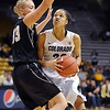 "Arielle Roberson of Colorado tries to drive past Alyssa Charlston of Idaho during the first half of the November 11,  2012 game in Boulder.<br /> For more photos of the CU women, go to  <a href=""http://www.dailycamera.com"">http://www.dailycamera.com</a><br /> Cliff Grassmick / November 11, 2012"