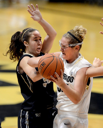 """during the second half of the November 11,  2012 game in Boulder.<br /> For more photos of the CU women, go to  <a href=""""http://www.dailycamera.com"""">http://www.dailycamera.com</a><br /> Cliff Grassmick / November 11, 2012"""