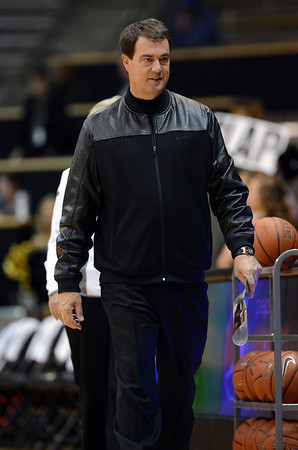 "CU AD Mike Bohn, before  the first half of the November 11,  2012 Women's game in Boulder.<br /> For more photos of the CU women, go to  <a href=""http://www.dailycamera.com"">http://www.dailycamera.com</a><br /> Cliff Grassmick / November 11, 2012"
