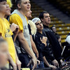"CU AD, Mike Bohn, right, joined the student section during the first half of the November 11,  2012 game in Boulder.<br /> For more photos of the CU women, go to  <a href=""http://www.dailycamera.com"">http://www.dailycamera.com</a><br /> Cliff Grassmick / November 11, 2012"