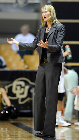"CU coach, Linda Lappe, makes a point during the first half of the November 11,  2012 game in Boulder.<br /> For more photos of the CU women, go to  <a href=""http://www.dailycamera.com"">http://www.dailycamera.com</a><br /> Cliff Grassmick / November 11, 2012"