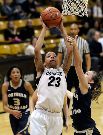 "University of Colorado's Chucky Jeffery takes a shot over Northern Colorado's Amy Marin, right, during the first round of the 2012 Women's NIT tournament on Wednesday, March 14, at the Coors Event Center on the CU campus in Boulder. For more photos and video of the game go to  <a href=""http://www.dailycamera.com"">http://www.dailycamera.com</a><br /> Jeremy Papasso/ Camera"
